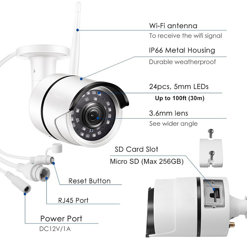 Ansjer Wireless Security Camera,1080p Full HD Outdoor Weatherproof WiFi IP Surveillance Bullet Camera,100ft Night Vision, Motion Detection
