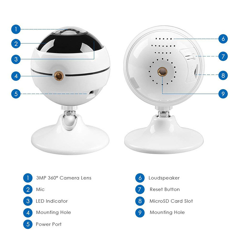 Ansjer 3.0MP Wireless WiFi Indoor VR Camera 360 Degree Panoramic IP Camera for Baby Pet Monitor
