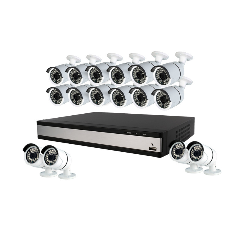 Ansjer 16 Channels 1080P CCTV Kits, IR Night Vision, 16ch h.264 Hybrid AHD/HD/TVI/CVBS DVR