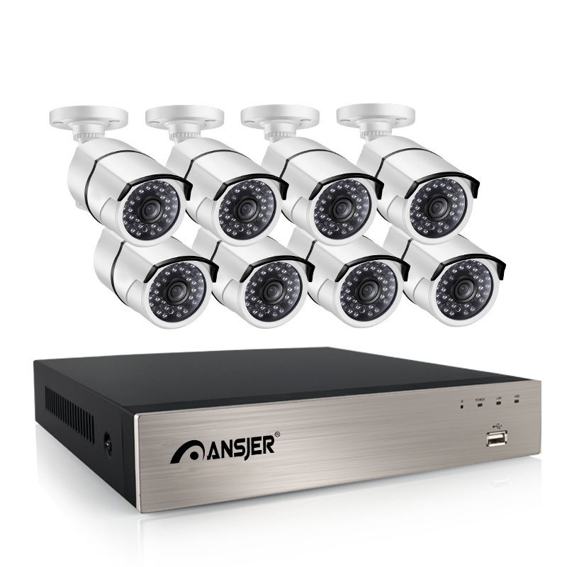 Ansjer 2.0mp 1080p HD POE 8CH NVR Outdoor Security System with 2MP Night View Bullet Camera